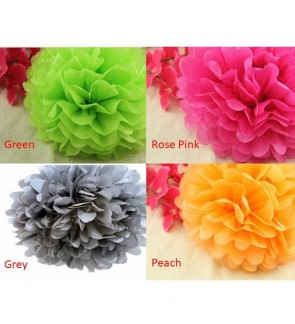 25cm - DIY Pom Pom Flower Tissue Paper Flower Party Wedding Room Decorations