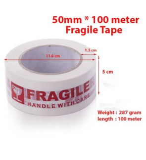 100 METER (50mm*100meter) READY STOCK FRAGILE RED TAPE PACKING TAPE