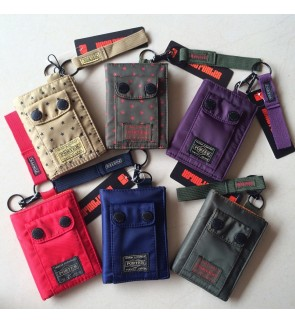W) Japan Design Head Ptr Wallet Velcro + Button Design