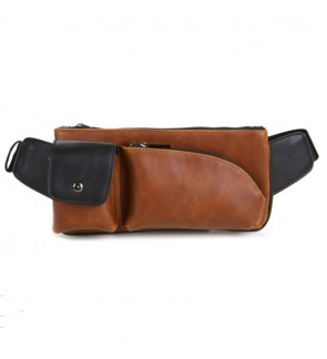 2) Men Classic High Quality PU Leather Sling Bag