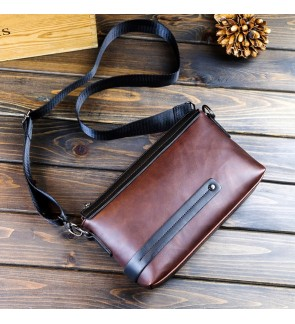 8) 2in1 Man Classic High Quality PU Leather Clutch Sling Bag Bag Tangan