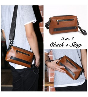 12) 8007 2in1 Man Classic PU Leather Clutch Sling Bag Bag Tangan